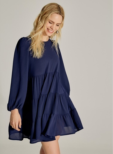 NGSTYLE Büzgülü Balon Kollu Elbise Lacivert